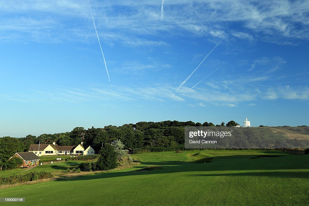 The 381 yards par 4 18th hole 'Home View' at The Royal Cromer Golf Club on July 25 in Cromer Norfolk England