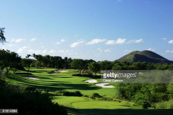 The 394 yard par 4 5th hole on the Wailea Golf Club Gold Course in Wailea on the island of Maui Hawaii USA