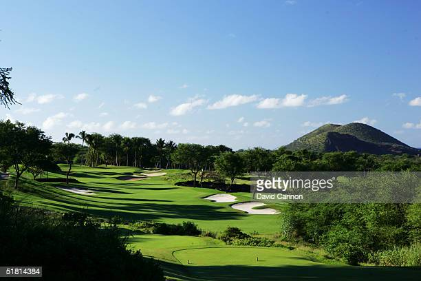 The 394 yard par 4 5th hole on the Wailea Golf Club Gold Course in Wailea on the island of Maui Hawaii USA