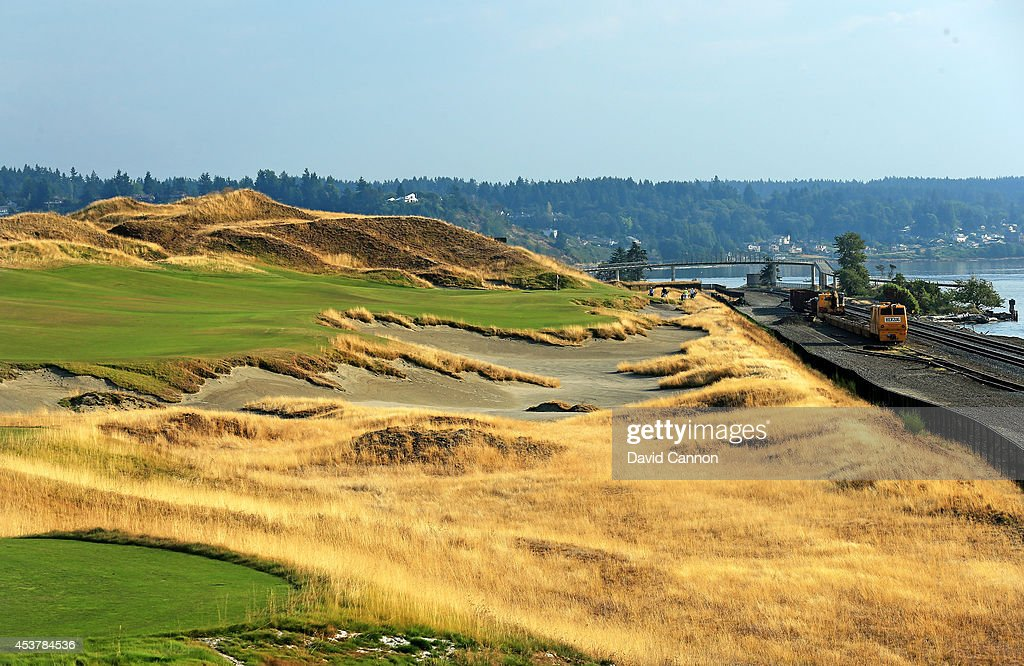 The 396 yards par 4 16th hole at Chambers Bay Golf Course the venue for the 2015 US Open Championship on August 12 2014 in University Place Washington