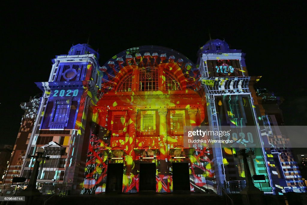 the 3d image is projected onto a osaka public hall wall using digital 3d mapping - Digital Christmas Lights