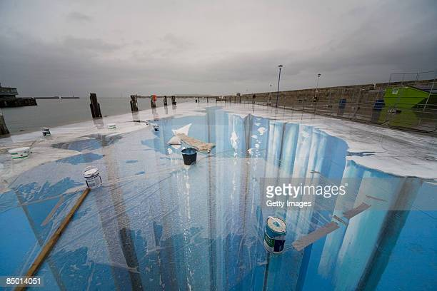 The 3D street painting 'Crevasse' by artist Edgar Mueller is seen in this undated picture during the 'Festival of culture' from August 2124 2008 in...