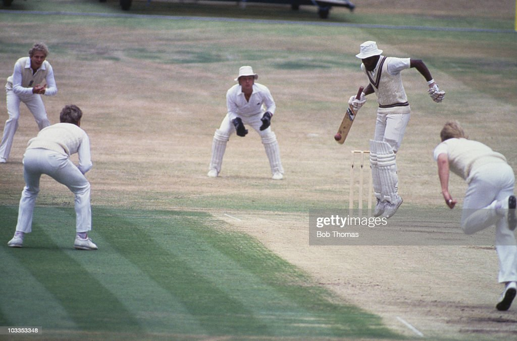 The 3rd Cornhill Test between England and the West Indies at Headingley Leeds 1984 Due to an injury Malcolm Marshall attempts to bat singlehanded...