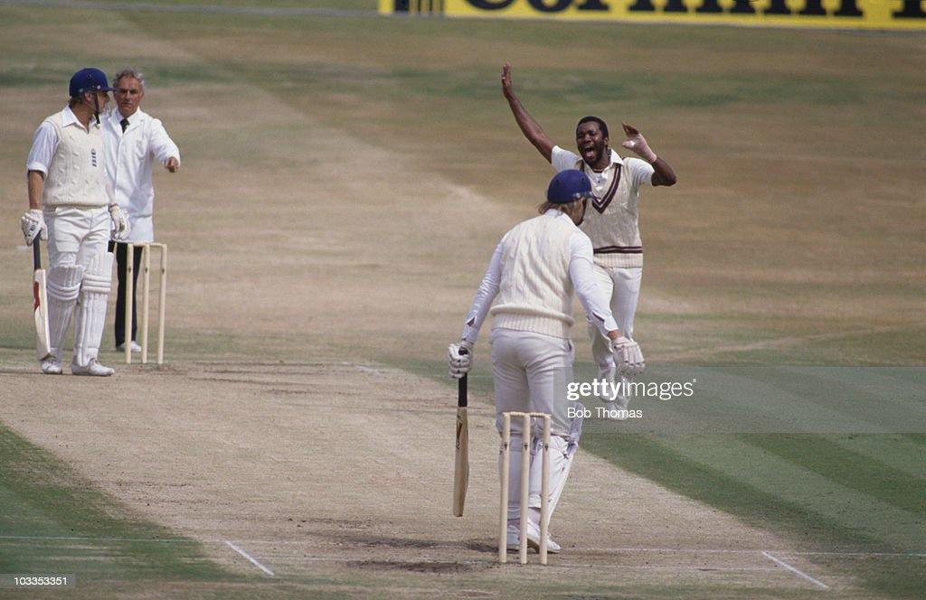 The 3rd Cornhill Test between England and the West Indies at Headingley Leeds 1984 Malcolm Marshall dismisses Paul Allott LBW