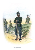 'The 3rd Goorkhas' c1890 A coloured lithographic plate from Her Majesty's Army Indian and Colonial Forces by Walter Richards JS Virtue Company