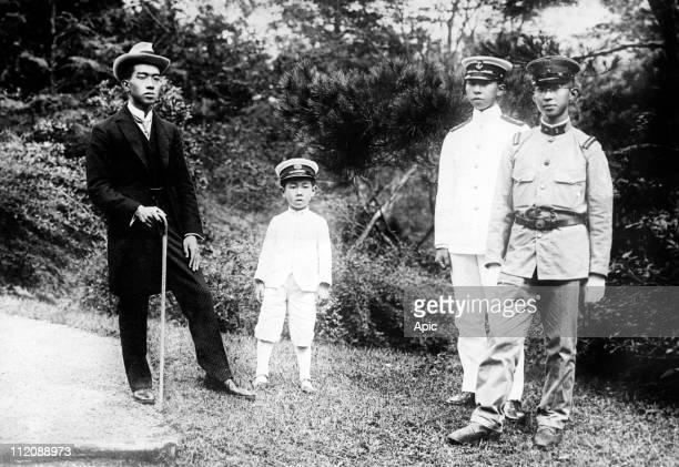 The 4 sons of japanese emperor Taisho in 1921 future japanese emperor Hirohito his brothers princes Takahito Mikasa Nobuhito Takamatsu et Yasuhito...
