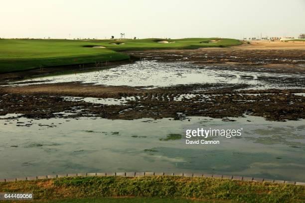 The 422 yards par 4 eighth hole at the Al Zoorah Golf Club on January 29 2017 in Ajman United Arab Emirates