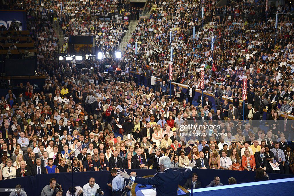 The 42nd President of the United States Bill Clinton addresses the audience at the Time Warner Cable Arena in Charlotte North Carolina on September 5...