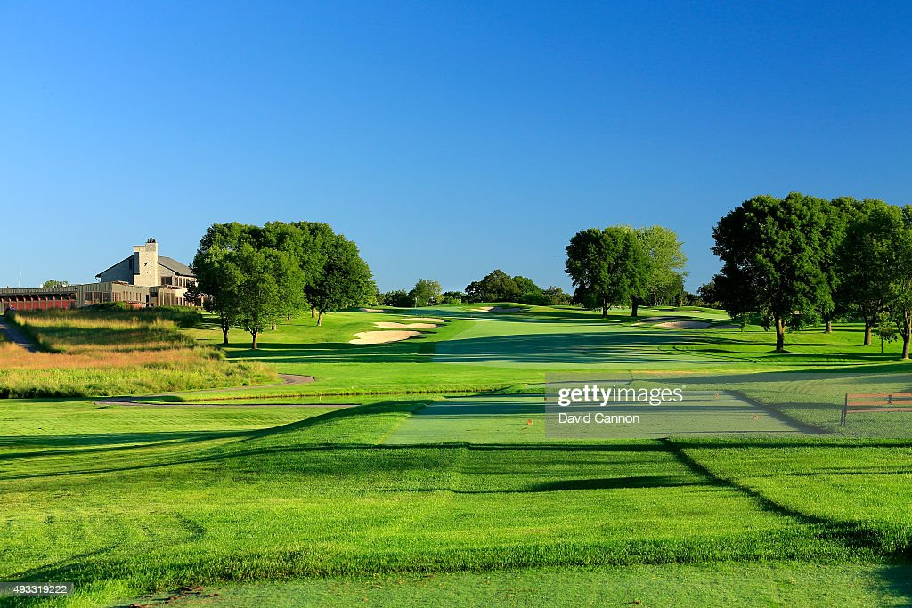 The 432 yards par 4 18th hole at Hazeltine National Golf Club the host venue for the 2016 Ryder Cup Matches on August 11 2015 in Chaska Minnesota