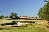 The 445 yard par 4 18th hole on The Pinehurst No 2 Course venue for the 2005 US Open on November 14 in Pinehurst North Carolina USA