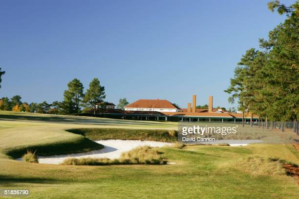 The 445 yard par 4 18th hole on The Pinehurst No 2 Course venue for the 2005 US Open on November 14 in Pinehurst North Carolina USA