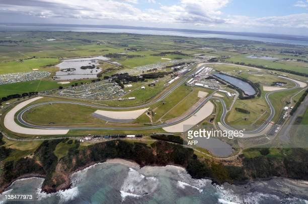 The 44km circuit of the Australian Grand Prix motorcycling MotoGP race sits on the south coast of Phillip Island on October 15 2011 Casey Stoner of...