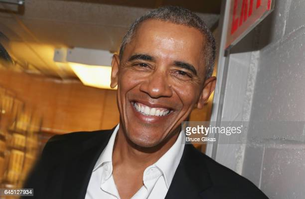 The 44th President of The United States Barack Obama poses backstage at The Roundabout Theatre Company's production of 'Arthur Miller's The Price' on...