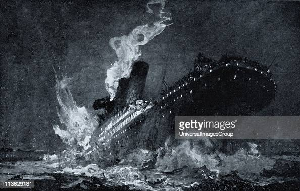 The 46328 tons RMS Titanic of the White Star Line sinking around 220 AM Monday morning April 15 after hitting iceberg in North Atlantic from drawing...