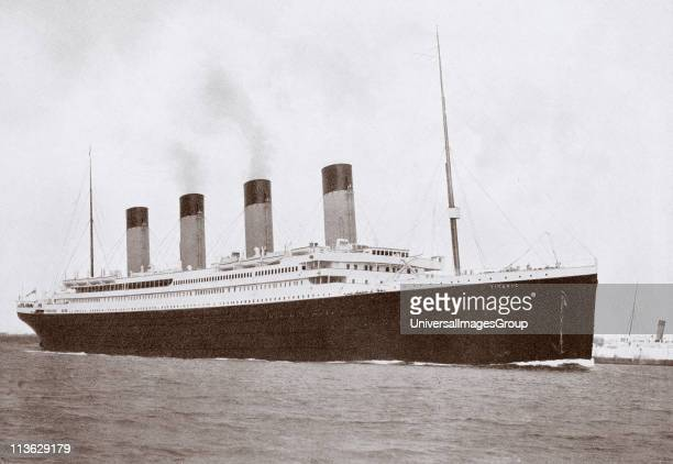 The 46328 tons RMS Titanic of the White Star Line which sank at 220 AM Monday morning April 15 1912 after hitting iceberg in North Atlantic