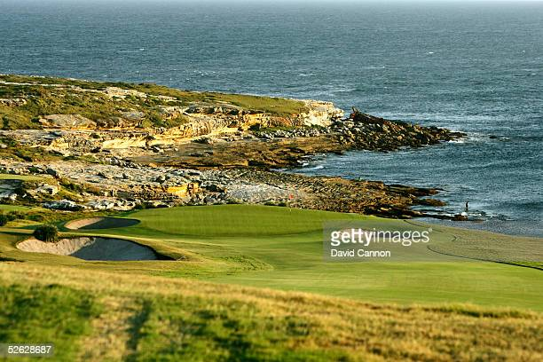 The 468 metre par 5 5th hole on the New South Wales Golf Club course with Botany Bay behind on March 15 in La Perouse New South Wales Australia
