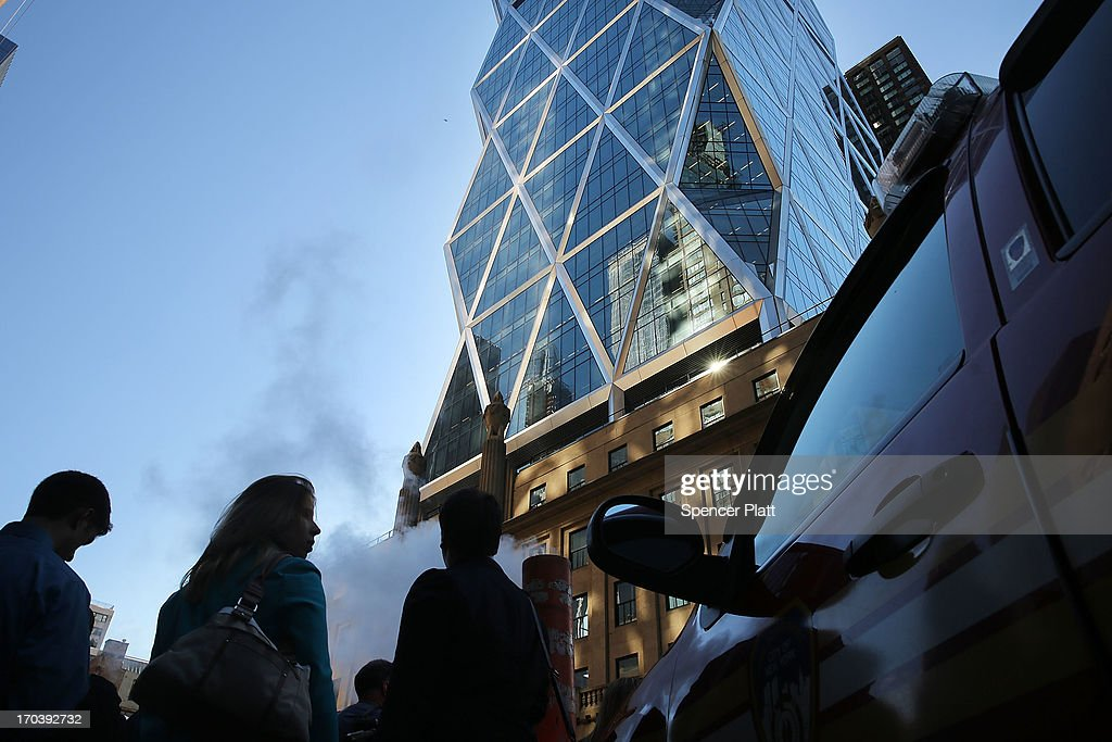 The 46-story Hearst Tower building is viewed after two trapped window washers were rescued on June 12, 2013 in New York City. The workers, who were servicing the window-washing equipment when the scaffolding broke, were left dangling 500 feet above Eighth Avenue. Firefighters and NYPD emergency service unit officers were were able to rescue the men as hundreds of onlookers gazed up from the street.