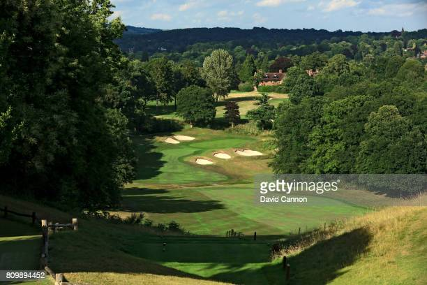 The 477 yards par 4 14th hole at Tandridge Golf Club which was designed by the renowned golf course architect Harry Colt in 1924 on July 3 2017 in...