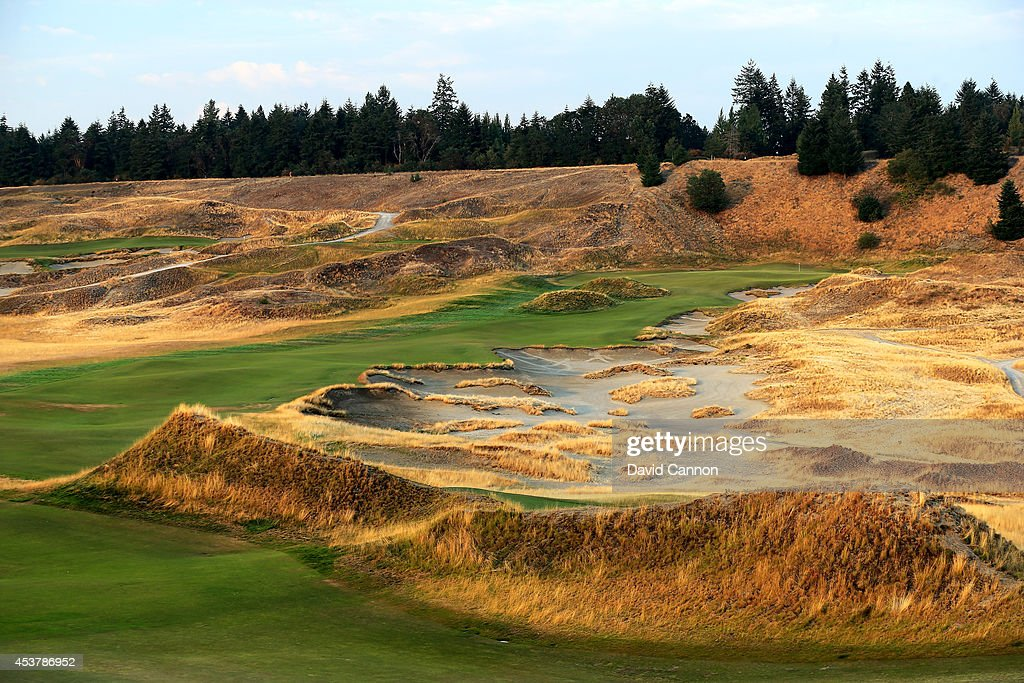 The 482 yards par 4 7th hole at Chambers Bay Golf Course the venue for the 2015 US Open Championship on August 12 2014 in University Place Washington