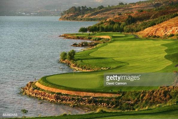 The 486 yard par 5 9th hole on the Robert Trent Jones designed Lake Course at the Spring City Golf and Lake Resort on April 28 in Kunming China