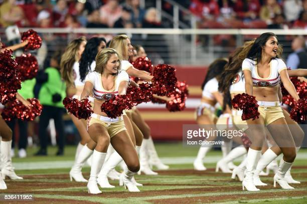 The 49ers Gold Rush Cheerleaders perform during a time out during an NFL preseason game between the Denver Broncos and the San Francisco 49ers on...