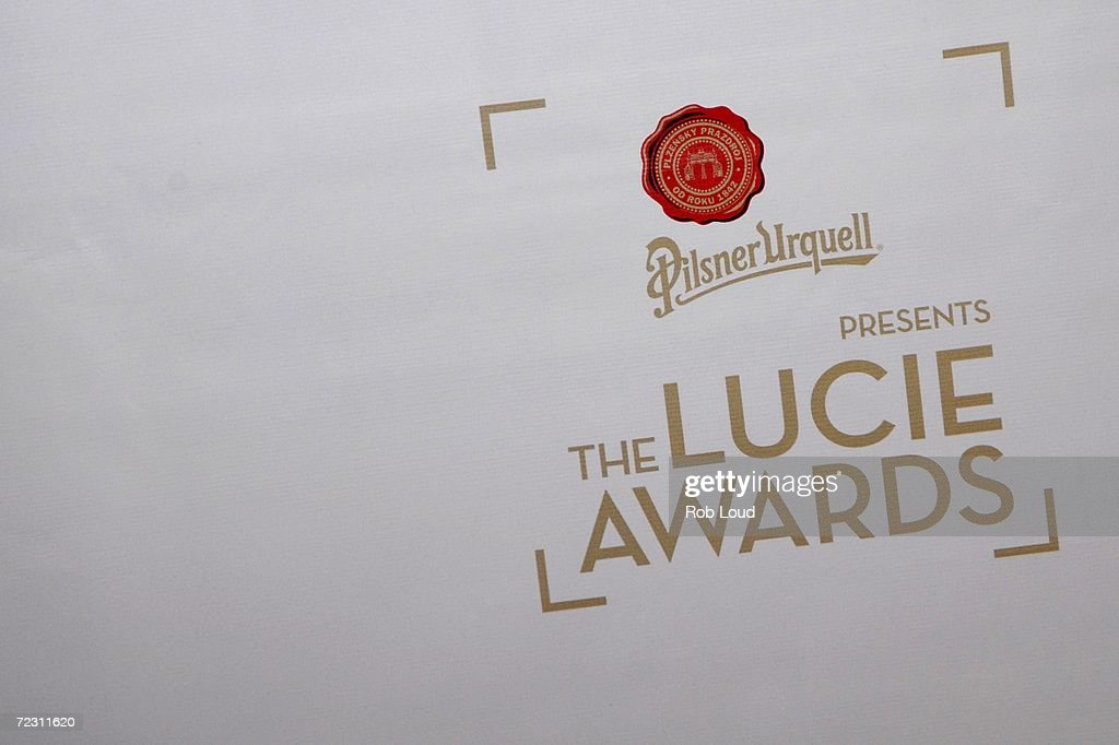 The 4th Annual Lucie Awards logo is shown at the American Airlines Theatre October 30, 2006 in New York City.