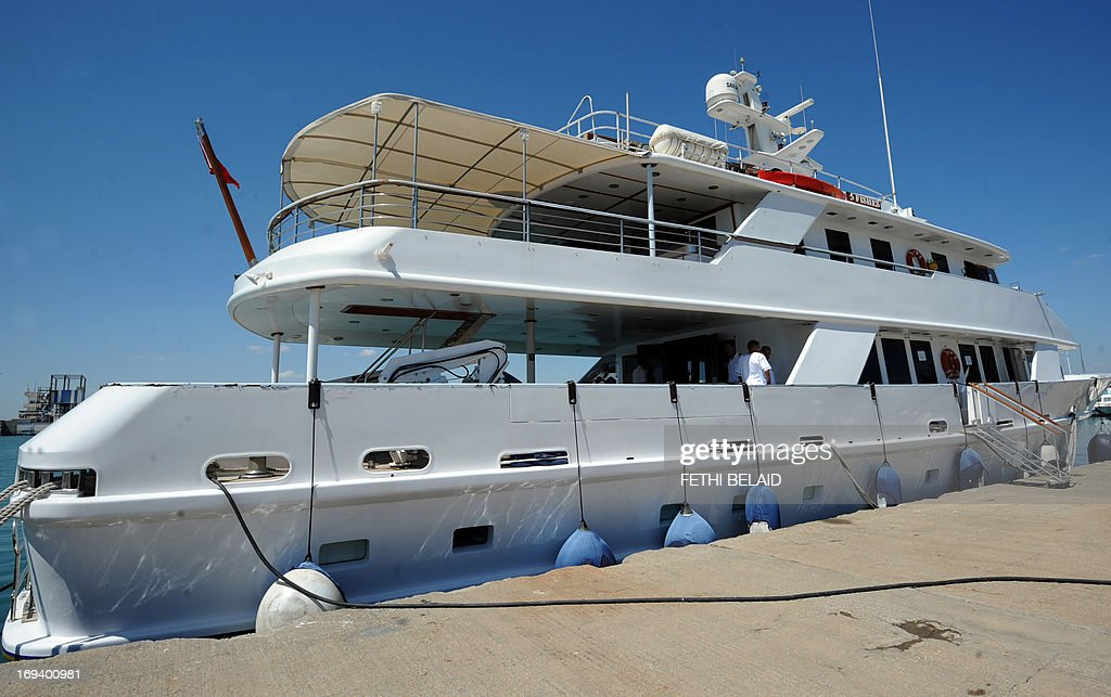 The '5 Fishes' yacht which used to belong to Belhassen Trabelsi, the brother-in-law of ousted dictator Zine El Abidine Ben Ali, is docked at the port of La Goulette in Tunis on May 24, 2013. Tunisian authorities have placed the yacht with an estimated value of eight million euros (over 10 million US dollars) on sale, but have so far received only one offer of seven million euros which they have refused.