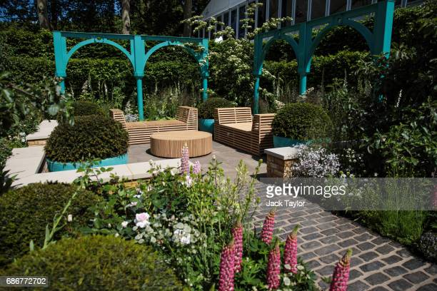 The ''500 Hundred Years of Covent Garden' Sir Simon Milton Foundation Garden' on display at the Chelsea Flower Show on May 22 2017 in London England...