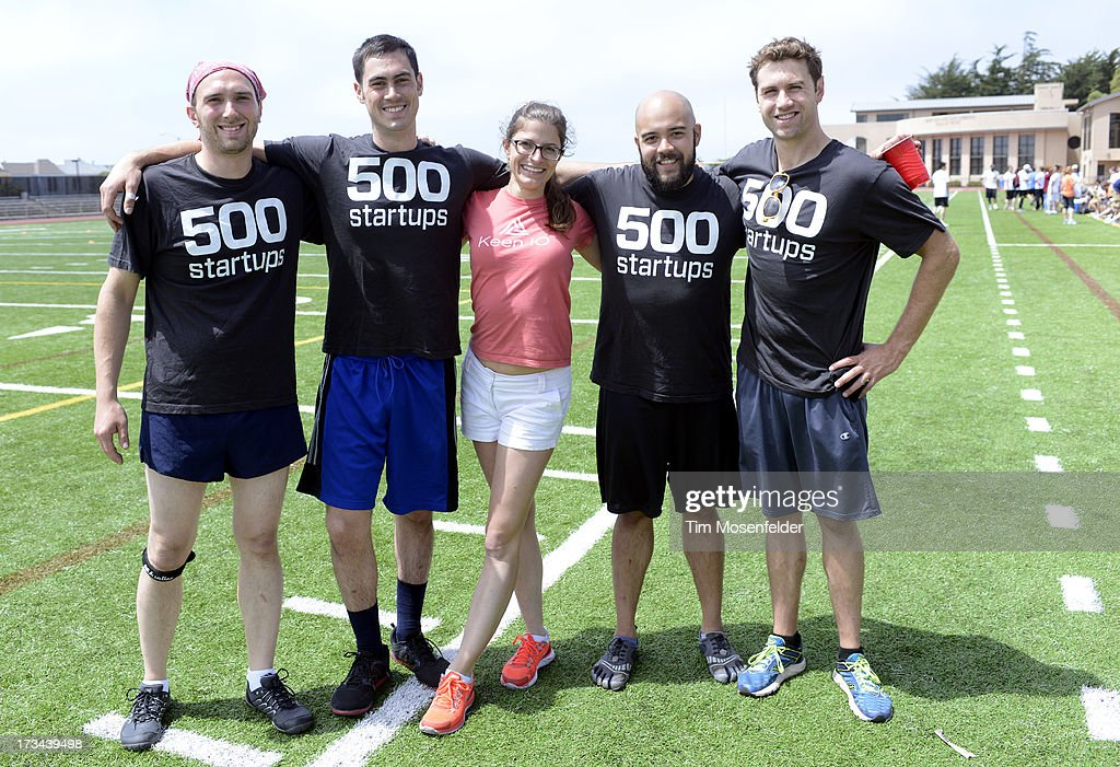 The 500 Startups team pose at the Founder Institute's Silicon Valley Sports League on July 13, 2013 in San Francisco, California.