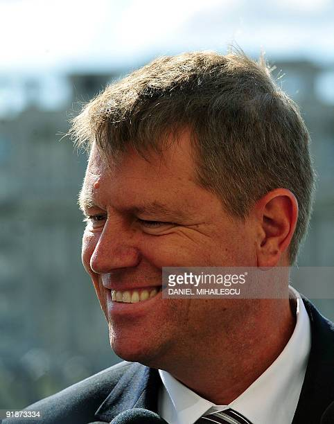The 50yearold head of the Democratic Forum of Germans in Romania Klaus Iohanis arrives at the Senate of Romania on October 14 2009 The Social...