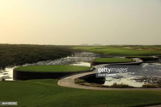 The 511 yards par 5 11th hole at the Al Zoorah Golf Club on January 29 2017 in Ajman United Arab Emirates