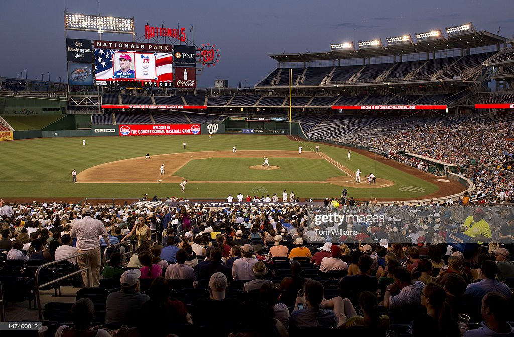 The 51st Annual CQ Roll Call Congressional Baseball Game is played at Nationals Park. The Democrats prevailed over the Republicans 18-5.