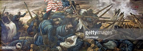 The 54th Massachusetts regiment under the leadership of Colonel Shaw in the attack on Fort Wagner Morris Island South Carolina in 1863 mural at the...
