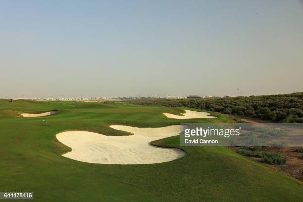 The 560 yards par 5 18th hole at the Al Zoorah Golf Club on January 29 2017 in Ajman United Arab Emirates