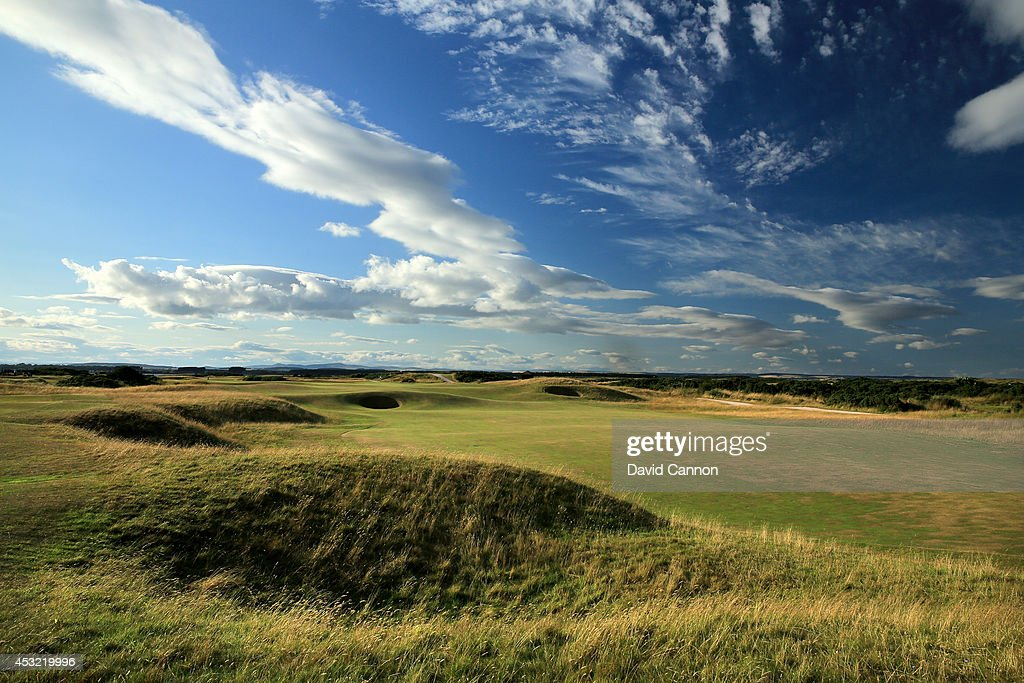The 568 yards par 5, 5th hole 'Hole O'Cross Out' on the Old Course at St Andrews venue for The Open Championship in 2015, on July 29, 2014 in St Andrews, Scotland.