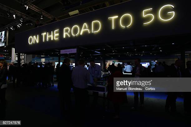 The 5G sign is displayed at the Ericsson pavillon during day four of the Mobile World Congress at the Fira Gran Via complex in Barcelona Spain on...