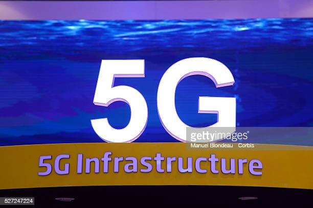 The 5G sign is displayed at the SK Telecom pavillon during day four of the Mobile World Congress at the Fira Gran Via complex in Barcelona Spain on...