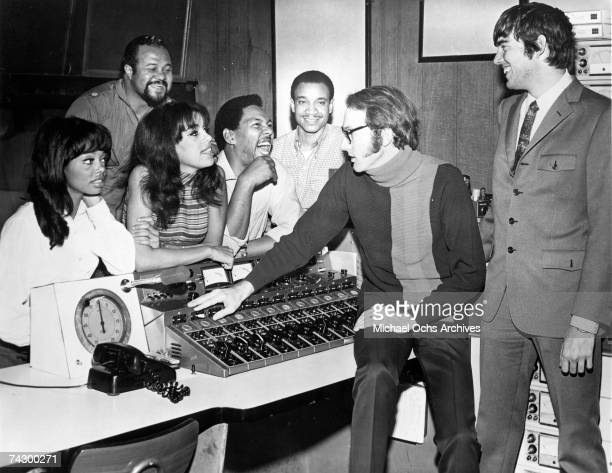 The 5th Dimension LR Florence LaRue Ron Townson Marilyn McCoo Billy Davis Jr Lamonte McLemore at the console with producer Bones Howe and songwriter...