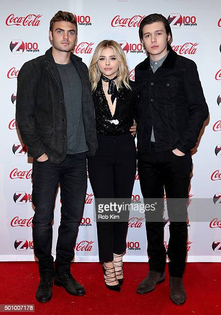 The 5th Wave cast members Alex Roe Chloe Grace Moretz and Nick Robinson attend Z100's Jingle Ball 2015 Z100 CocaCola All Access Lounge Backstage at...