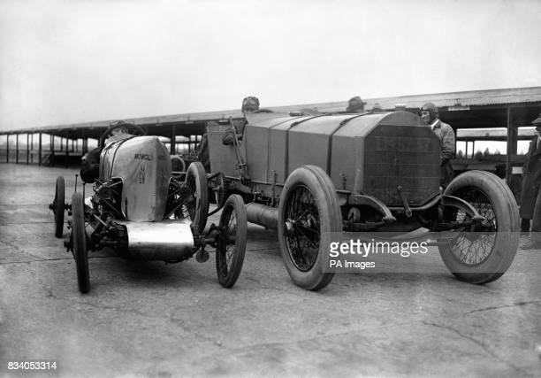 The 600 hp 'Chitty Bang Bang' Count Zborowski's huge racer with a zeppelin engine and the 8 hp 'GN' Cycle car afford a striking contrast during the...