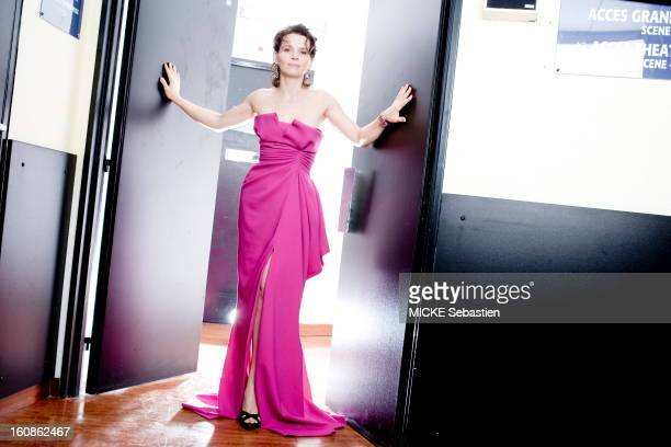The 60th Cannes Film Festival runs from May 16 to 27 2007 smiling attitude of Juliette Binoche bustier dress in fuchsia silk crepe John Galliano for...