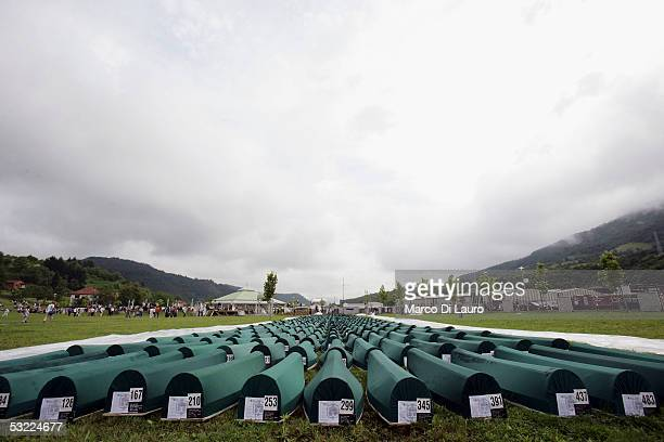 SREBRENICA BOSNIA HERZEGOVINA JULY 11 The 610 coffins of the Srebrenica massacre victims are seen prior to the funeral attended by their family...