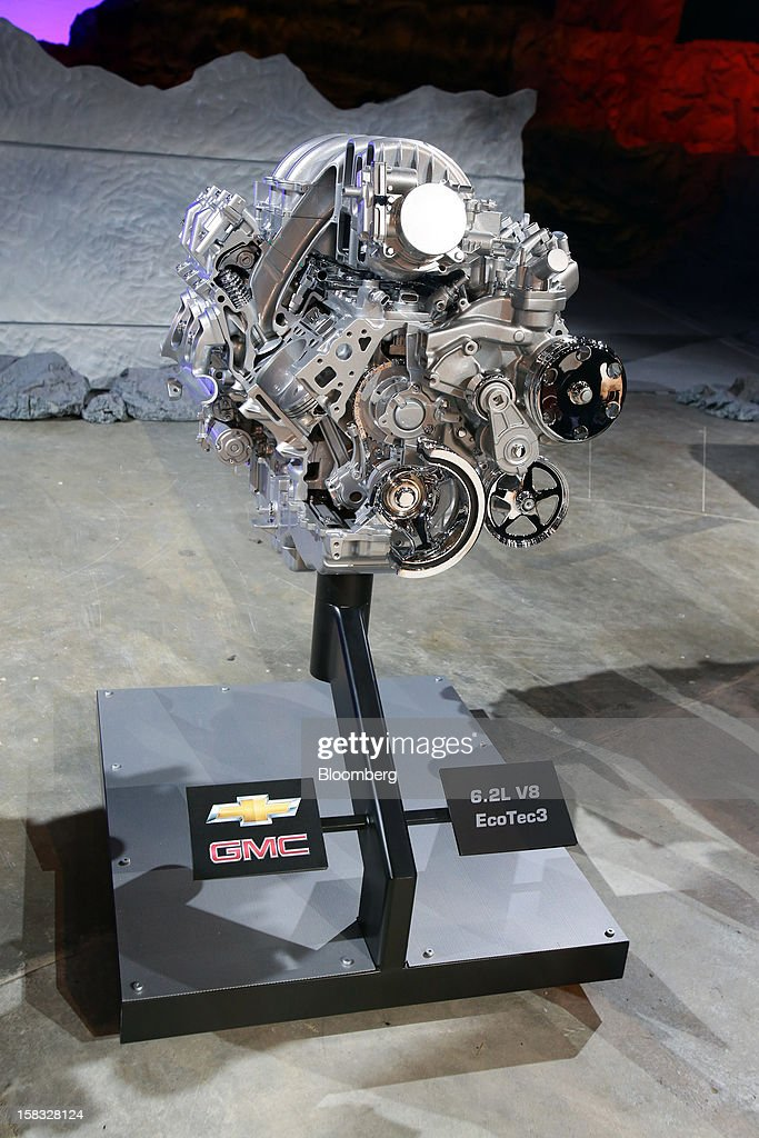 The 6.2L V8 EcoTec3 engine of the General Motors Co. (GM) 2014 GMC Sierra pickup truck is displayed during the vehicle's unveiling at an event in Pontiac, Michigan, U.S., on Thursday, Dec. 13, 2012. Even with the recent cloud of high existing truck inventories, the new Chevrolet Silverado and GMC Sierra pickups hold the promise of giving GM's investors, the U.S. government included, a long awaited boost. Photographer: Fabrizio Costantini/Bloomberg via Getty Images