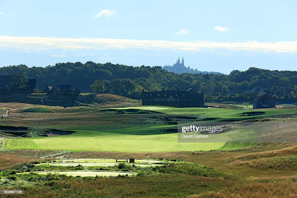 The 663 yards par 5, 18th hole at Erin Hills Golf Course the venue for the 2017 US Open Championship on September 1, 2016 in Erin, Wisconsin.