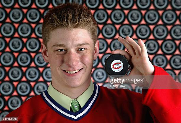 The 66th overall pick Ryan White of the Montreal Canadiens poses for a portrait backstage at the 2006 NHL Draft held at General Motors Place on June...