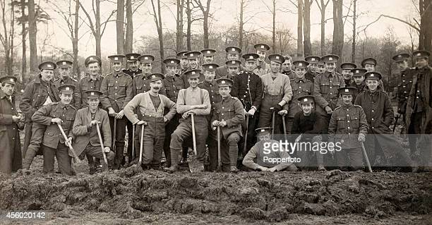 The 6th battalion of the Manchester Regiment of miners all from Stretford Road in Manchester using their special skills on intricate trench work...
