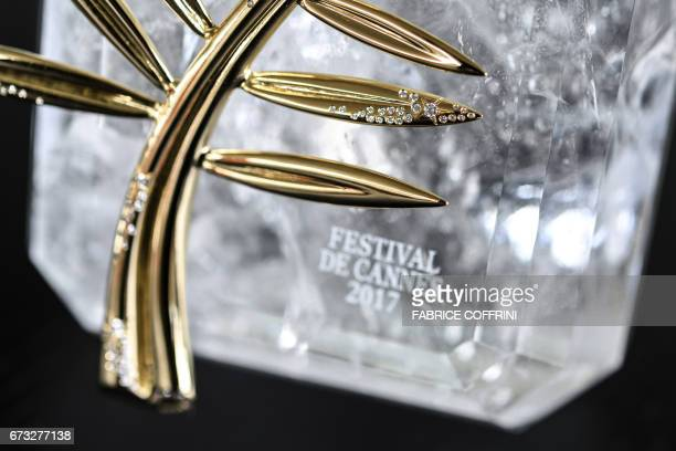 The 70th anniversary special edition of the Palme d'Or trophy is pictured ahead of the Cannes Film Festival during a photocall at the Chopard...