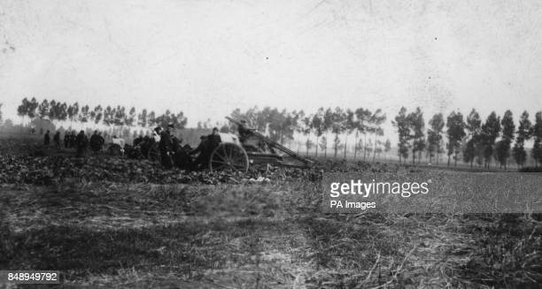 The 70th Battery of 4th Regiment Belgian Artillery in action at Lebbeke Belgium *Low res scan hi res version available on request* ArchivePAf1294