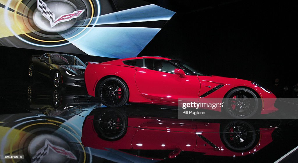 The 7th-generation Chevrolet Corvette, the C7, is revealed to the media at the Russell Industrial Complex January 13, 2013 in Detroit, Michigan. The redesigned 2014 Corvette was revealed at a preview of the 2013 North American International Auto Show, which opens in Detroit January 14th.