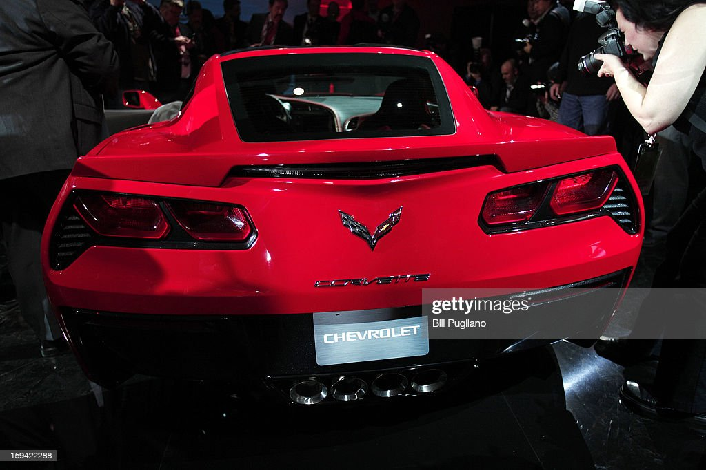 The 7th-generation Chevrolet Corvette, the C7, is revealed to the media at the Russell Industrial Complex January 13, 2013 in Detroit, Michigan. The redesigned 2014 Corvette was unveiled at a preview of the 2013 North American International Auto Show, which opens in Detroit January 14th.